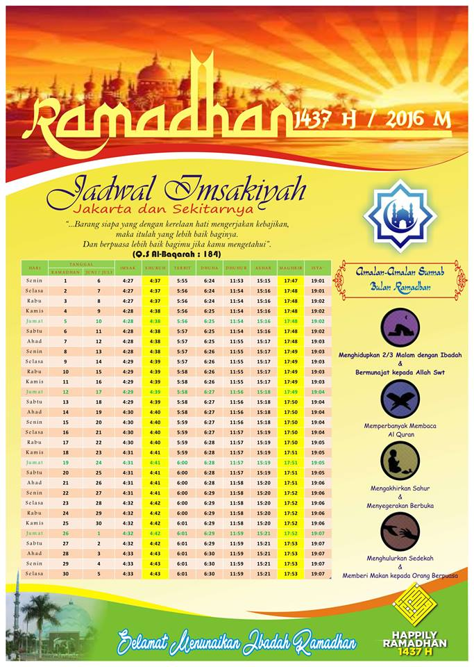 Jadwal Imsakiyah Ramadhan 1437 H se-Indonesia | TERUS ...